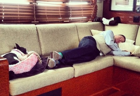 Robin Williams and his dog Verna Pearl nap after a long day's work. Photo credit: Peoplepets.com