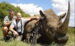 walter palmer, hunter and dentist, with dead rhino trophy kill