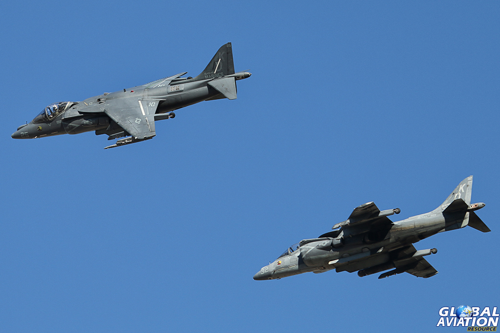 Two AV-8B Harrier IIs fly over the base and break for the approach. © Alan Kenny - globalaviationresource.com
