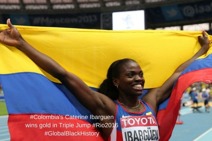 #Colombia's Caterine Ibarguen wins gold in Triple Jump #Rio2016#GlobalBlackHistory