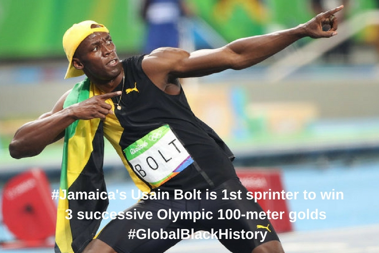 #_Jamaica_'s Usain Bolt is 1st sprinter to win 3 successive Olympic 100-meter golds _#_GlobalBlackHistory_