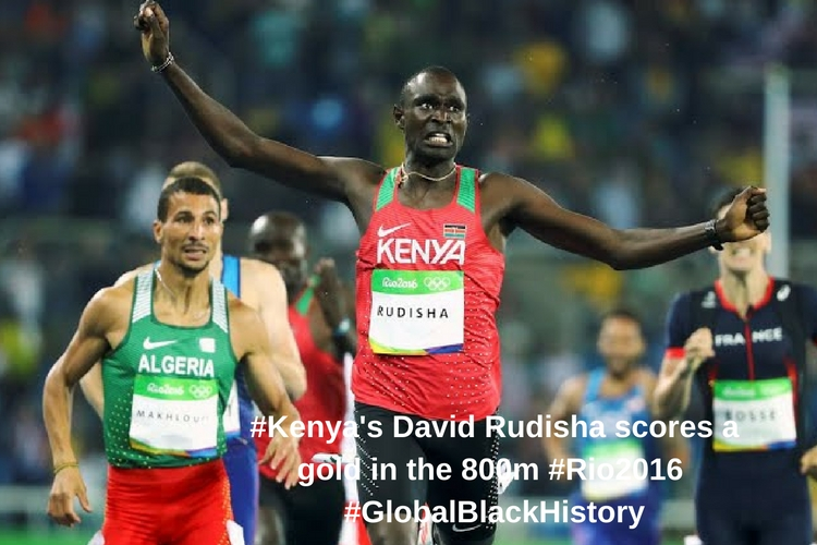 _#_Kenya_'s David Rudisha scores a gold in the 800m _#_Rio2016_ _#_GlobalBlackHistory_