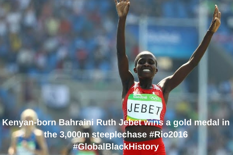 Kenyan-born Bahraini Ruth Jebet wins a gold medal in the 3,000m steeplechase _#_Rio2016_ #GlobalBlackHistory