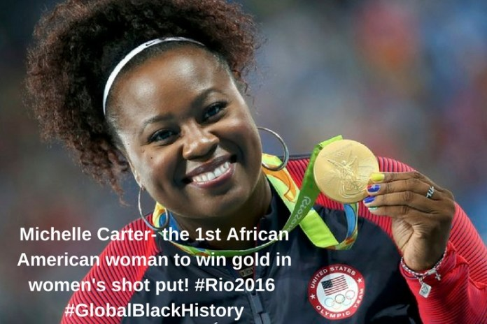 Michelle Carter- the 1st African American woman to win _gold_ in women's shot put! _#_Rio2016_ _#_GlobalBlackHistory_
