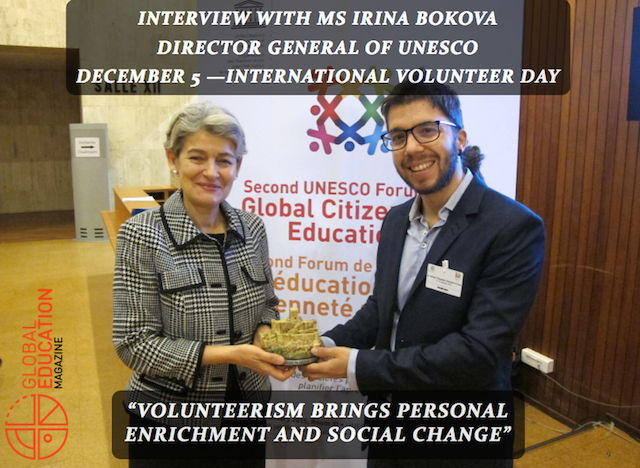 irina bokova, unesco director general, javier collado ruano, global citizenship education, volunteer