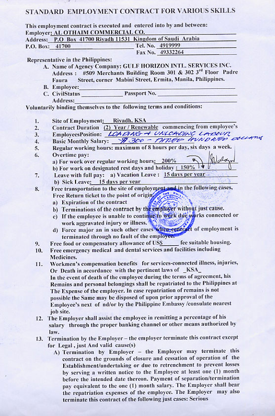 Contract Agreement Form Job
