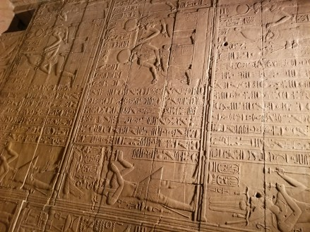 Combinations of figures and hieroglyphs.