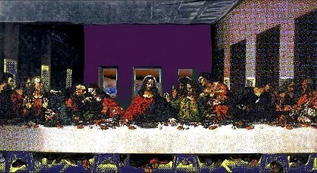 A.P .-ASTRA-Last-supper-silkscreen-and-mixed-media