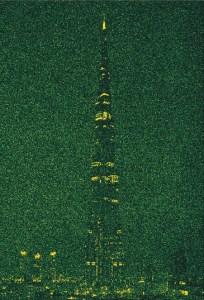 A.P. Astra Burj Khalifa I Dubai green night - A.P. ASTRA - Burj Khalifa (Dubai green night) Silkscreen and Gold on canvas