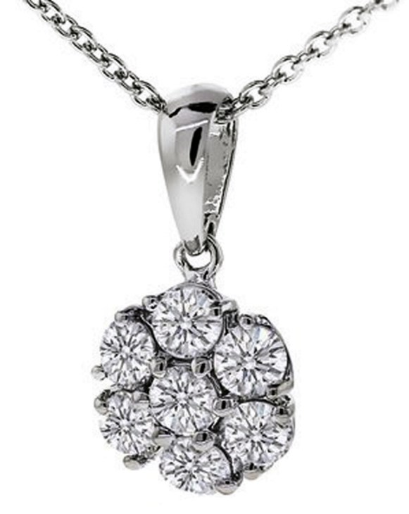 Tulcy Genuine Natural 0.40 Cttw Diamond Cluster Pendant Necklace In Sterling Silver