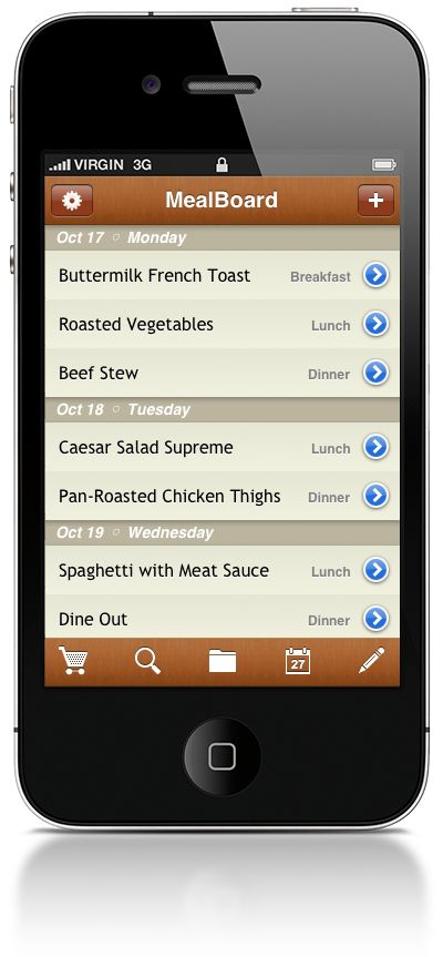 Meal Plan on Iphone via Pinterest