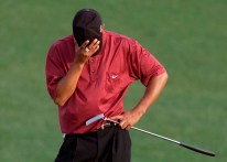 2001 Masters – The Tiger Slam. Woods shot 16-under par to become the first person to hold all four professional major championship titles simultaneously. (Photo: Augusta National Archive, Getty Images)
