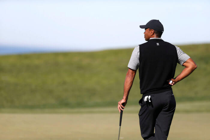 TIger Woods waiting