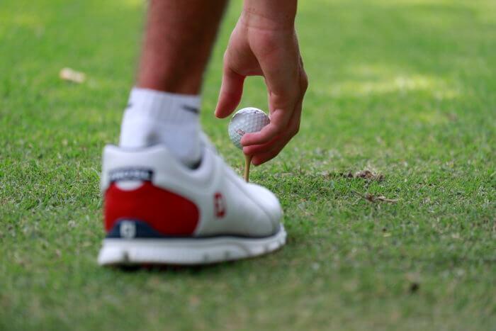 Golf tee, shoe and ball