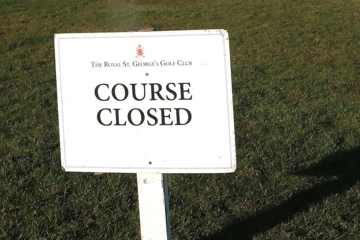 Royal St. George's Golf Club course closed sign