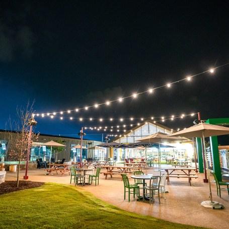 Topgolf Augusta's patio area