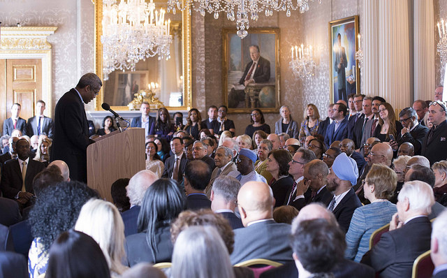 Hugh Quarshie enthrals guests in attendance during a reading of this year's commonwealth Essay competition winner originally written by Paraschos Cant from Cyprus