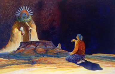 Virgil Nez's painting of a grandma praying and giving an offering to the Yei'bi'chi (prayer warriors).