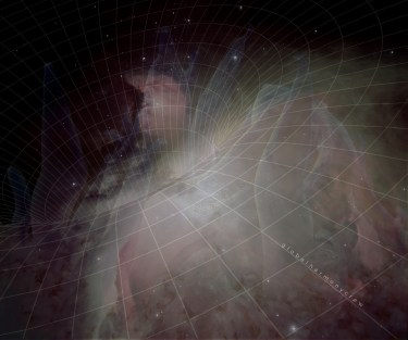 Image of space and anemones with gridlines forming a wormhole.