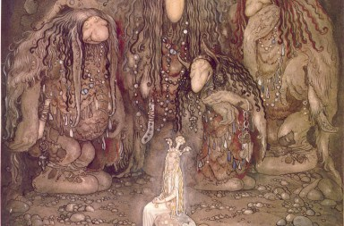 Painting of trolls mezmerized by a princess painted by John Bauer in 1915.