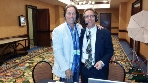 Dr. Edward Group with radio show host Scott Bell at The Truth About Cancer Symposium.