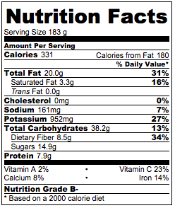 Vegan chocolate pudding nutrition facts.