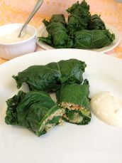 Kale & Quinoa Dolmades With Yoghurt Dipping Sauce