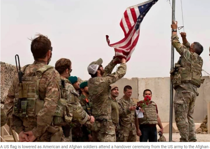 US flag lowered in Helmand Province