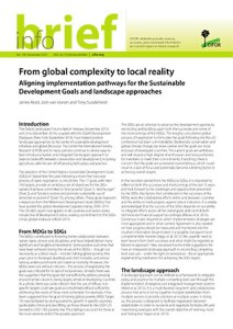 From global complexity to local reality: Aligning implementation pathways for the Sustainable Development Goals and landscape approaches