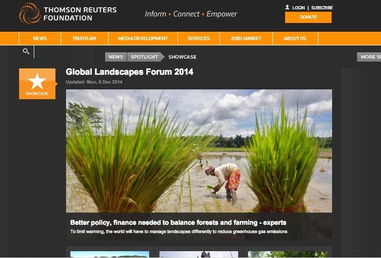 Thomson Reuters Foundation highlights Global Landscapes