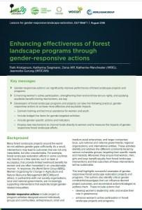 Enhancing effectiveness of forest landscape programs through gender-responsive actions