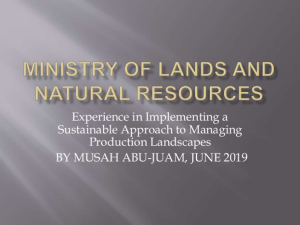 Experience in Implementing a Sustainable Approach to managing Production Landscapes