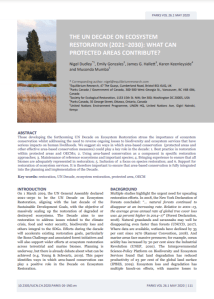 The UN Decade on Ecosystem Restoration (2021-2030): What Can Protected Areas Contribute?