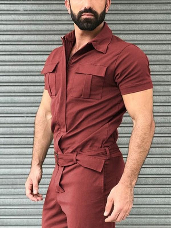 Lapel Collar Flap Pocket Belted Cargo Jumpsuit