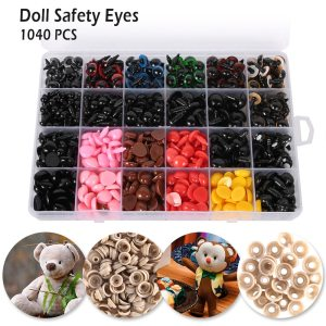 1040PCS 6-14mm Plastic Doll Safety Eyes Noses Boxes For Teddy Bear Doll Animal Toy DIY Crafts Colorful Dolls Accessories