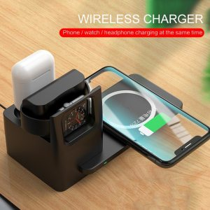 3 in 1 Mobile Phone Wireless Charger For Mobile Phone Airpods iWatch Wireless Charging Station 15W Desktop Phone Dock