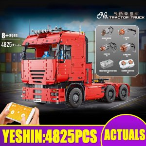 MOULD KING High-tech Car Toys The 19005 Motorized Tractor Truck and Trailer Model MOC-2475 Building Blocks Bricks Kids Gifts