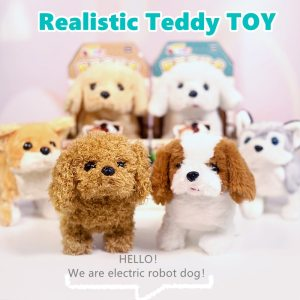 Realistic Teddy Simulation Dog Electric Plush Toy Teddy Robot Dog Child Toy Puppy Plush For Christmas Gift Interactive Toys