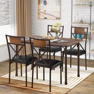 Wooden Dining Table with Matching Padded Chairs, 5-Piece Dining Set for Family, Brown