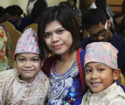 Bambie Panta with her children.