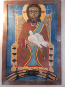 A variation of the Prince of Peace icon with Christ seated and no war scenes. This hangs in the Baptist Church in Gori.