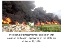 6 killed in tanker explosion at Lapai in Lapai Local Government Area of Niger State