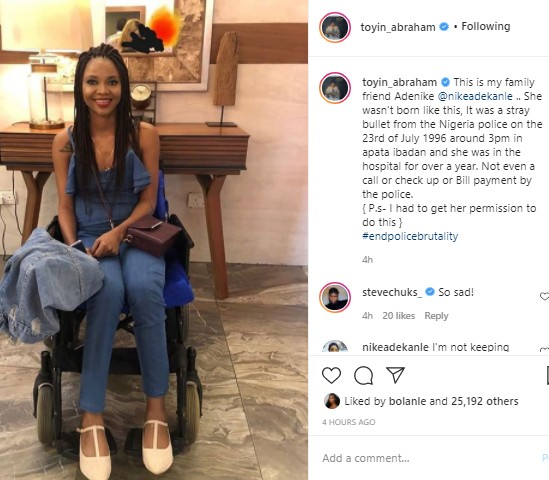 A Pretty Lady Crippled By Police Stray Bullet - Toyin Abraham Shares Her Photo