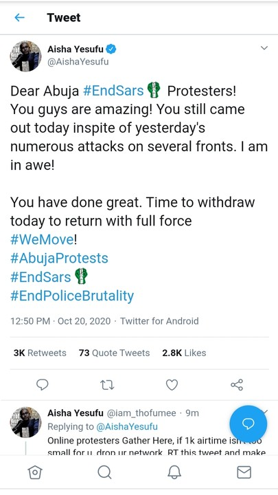 Aisha Yesufu Asks Abuja EndSARS Protesters To Withdraw And Come Back With Full Force