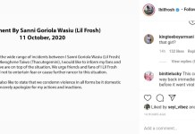 Former DMW Label Artiste Lil Frosh Apologizes For Beating His Girlfriend Thacutegeminme