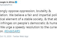 Google tweets in support of #EndSARS protest-We strongly oppose oppression, brutality and intimidation