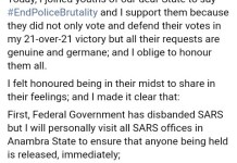 Governor Obiano Sacks James Nwafor, Ex SARS Boss And Joins EndPoliceBrutality Protest
