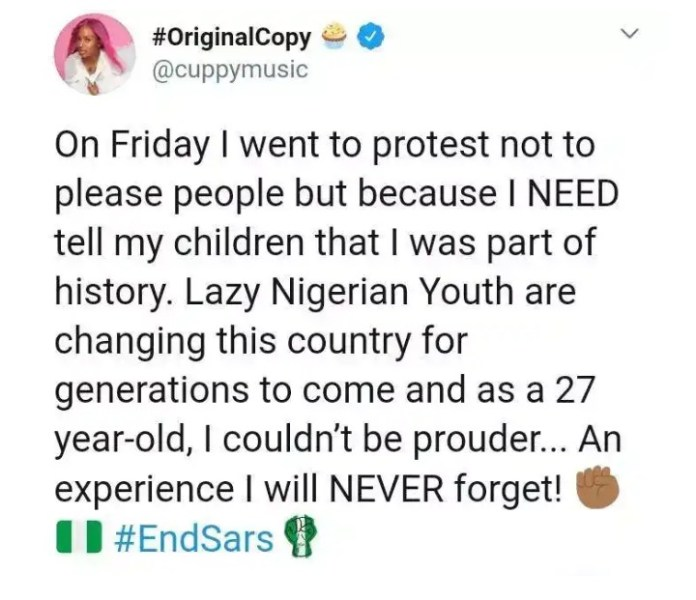 I Will Tell My Children I Am Part Of History-DJ Cuppy Says At #EndSARS Protest In Lekki