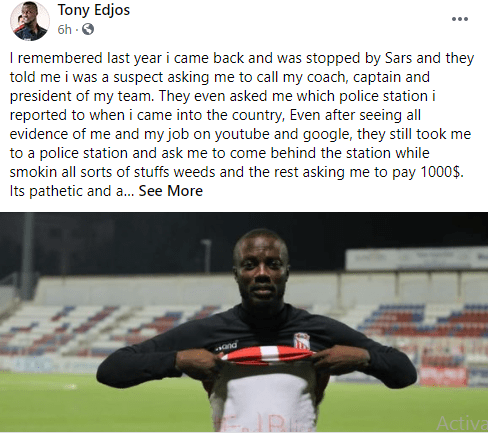 Nigerian Footballer Tony Edjomariegwe Narrates How SARS Officers Allegedly Demanded For $1000 From Him After Saying He's A Suspect