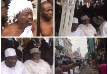 Oba of Lagos and his staff of office welcome at the palace with Ritual rites held at Isale Eko